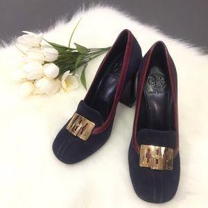Tory Burch  High Heel Shoes Howie Suede Pump Navy